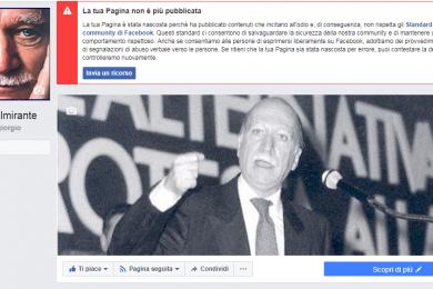 La pagina Facebook di Giorgio Almirante rischia la chiusura