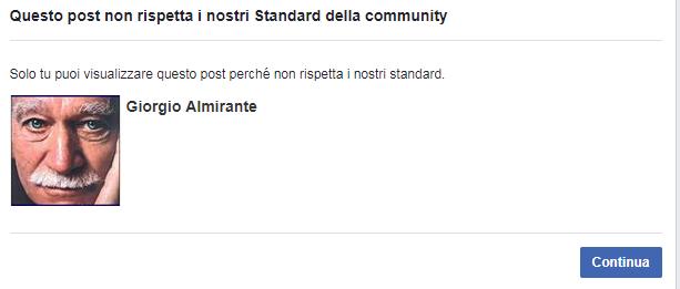 Facebook cancella la pagina di Giorgio Almirante