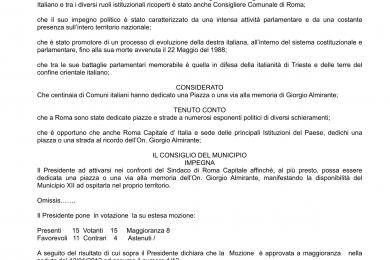 Richiesta di intitolazione di una piazza o di una via alla memoria dell'On. Giorgio Almirante